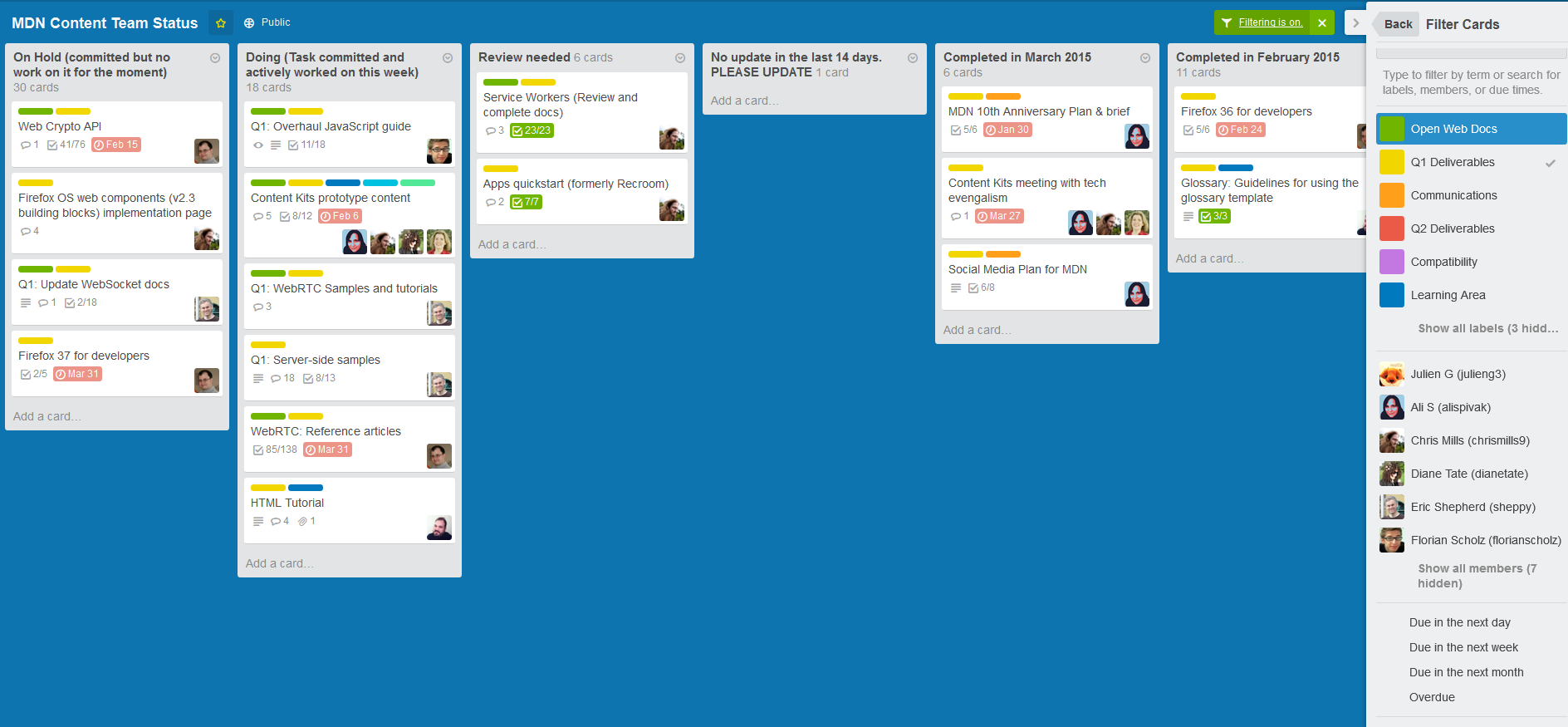 Trello boards are great for project management